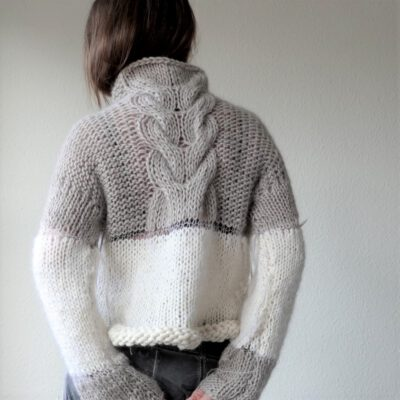 Greige white cable jumper